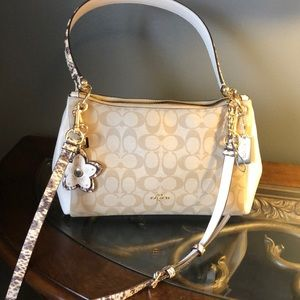 Coach snakeskin handle and removable strap